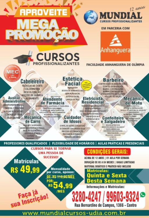 Dez Cursos Profissionalizantes Pela Faculdade Anhanguera Matriculas Ate Amanha Sexta Diario De Olimpia